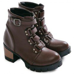 Belt Buckle Cross Straps Short Boots - DEEP BROWN