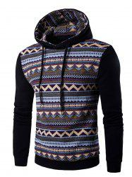 Tribal Print Hooded Long Sleeve Fleece Hoodie - BLACK