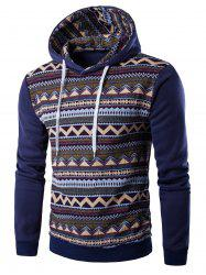 Tribal Print Hooded Long Sleeve Fleece Hoodie - DENIM BLUE