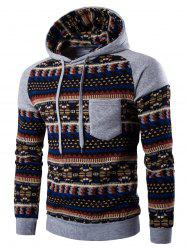 Tribal Print Pocket Hooded Raglan Sleeve Hoodie - LIGHT GRAY