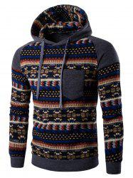 Tribal Print Pocket Hooded Raglan Sleeve Hoodie - DEEP GRAY