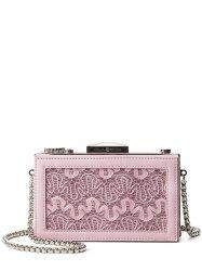Splicing Box Shape Lace Evening Bag -