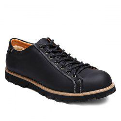 Stitching Lace-Up Leather Casual Shoes - BLACK