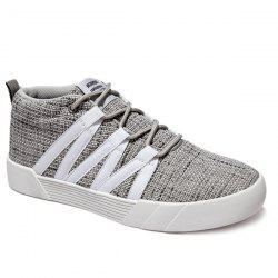 Lace-Up Linen Mid Top Casual Shoes -
