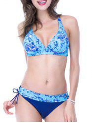 Halter Lace-Up Printed Bikini Set
