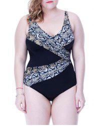 Printed Bow Design Backless One Piece Swimsuit -
