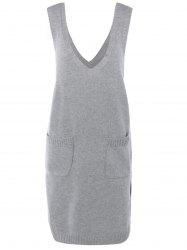 Sans manches Pocket design Solid Color Knitting Dress - Gris