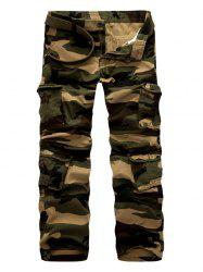 Zipper Fly Casual Camouflage Straight Leg Multi-Pockets Design Pants -