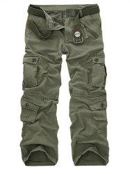 Zipper Fly Straight Leg Multi-Pockets Cargo Pants - GRASS GREEN