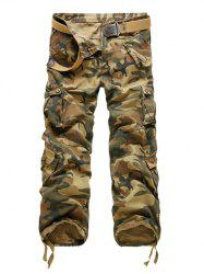 Zipper Fly Straight Leg Multi-Pockets Embellished Camouflage Pants - EARTHY 40
