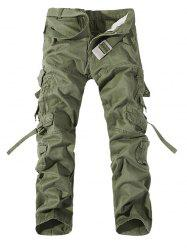Plus Size Buckle Strap Cargo Pants - GRASS GREEN 40