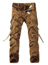 Plus Size Buckle Strap Cargo Pants - BROWN