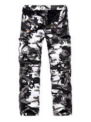 Zipper Fly Fleece Multi-Pocket Camo Cargo Pants - GRAY