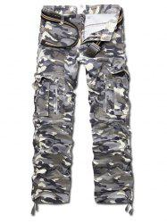 Zipper Fly Camo Straight Leg Multi-Pocket Design Pants