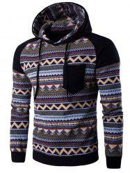 Color Block capuche Hoodie manches Raglan Tribal imprimé Pocket - Noir