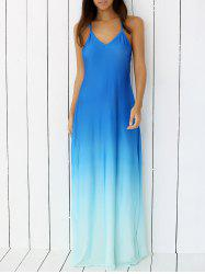 Ombre Backless Slip Trapeze Maxi Dress