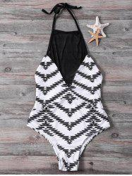 Stylish High Collar Mesh Splicing Zig Zag One-Piece Swimwear For Women - WHITE S
