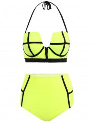 Halter High Waisted Neoprene Bikini Set - LIGHT GREEN L