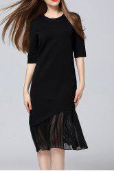 Pleated Sweater Midi Dress