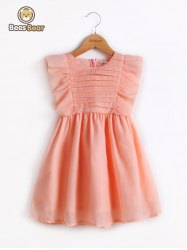 Cute Flounced Solid Color Bowknot Design Dress -