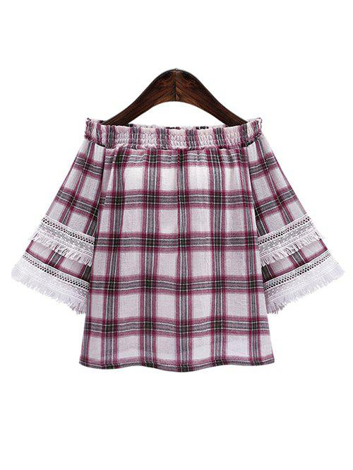 Off The Shoulder Plaid frangée Blouse Rouge 3XL