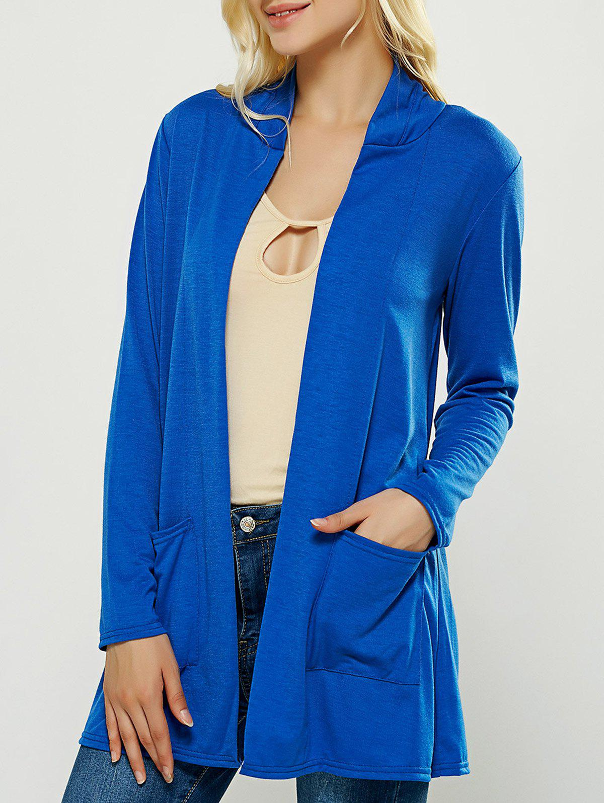 Blue Casual Pocket Design Long Cardigan Rosegal Com