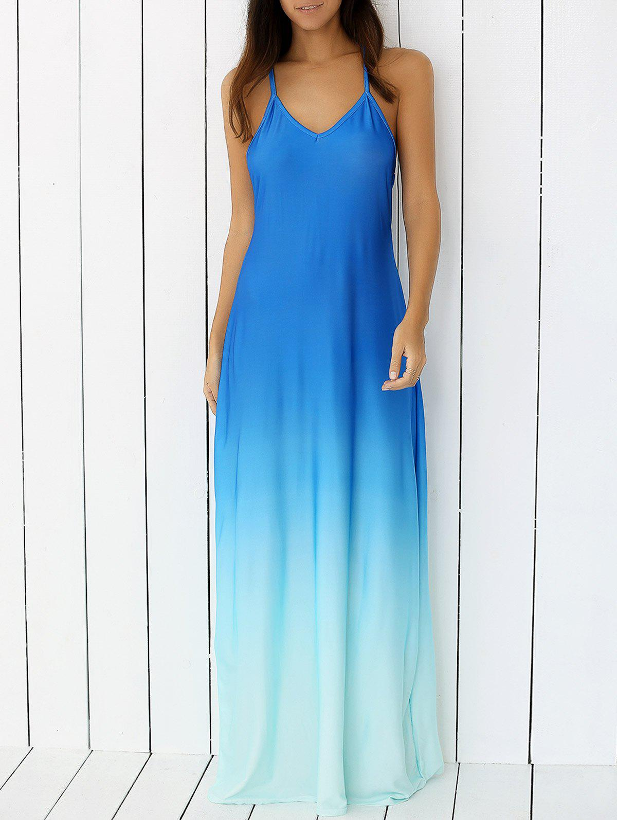 Hot Ombre Backless Slip Trapeze Maxi Dress