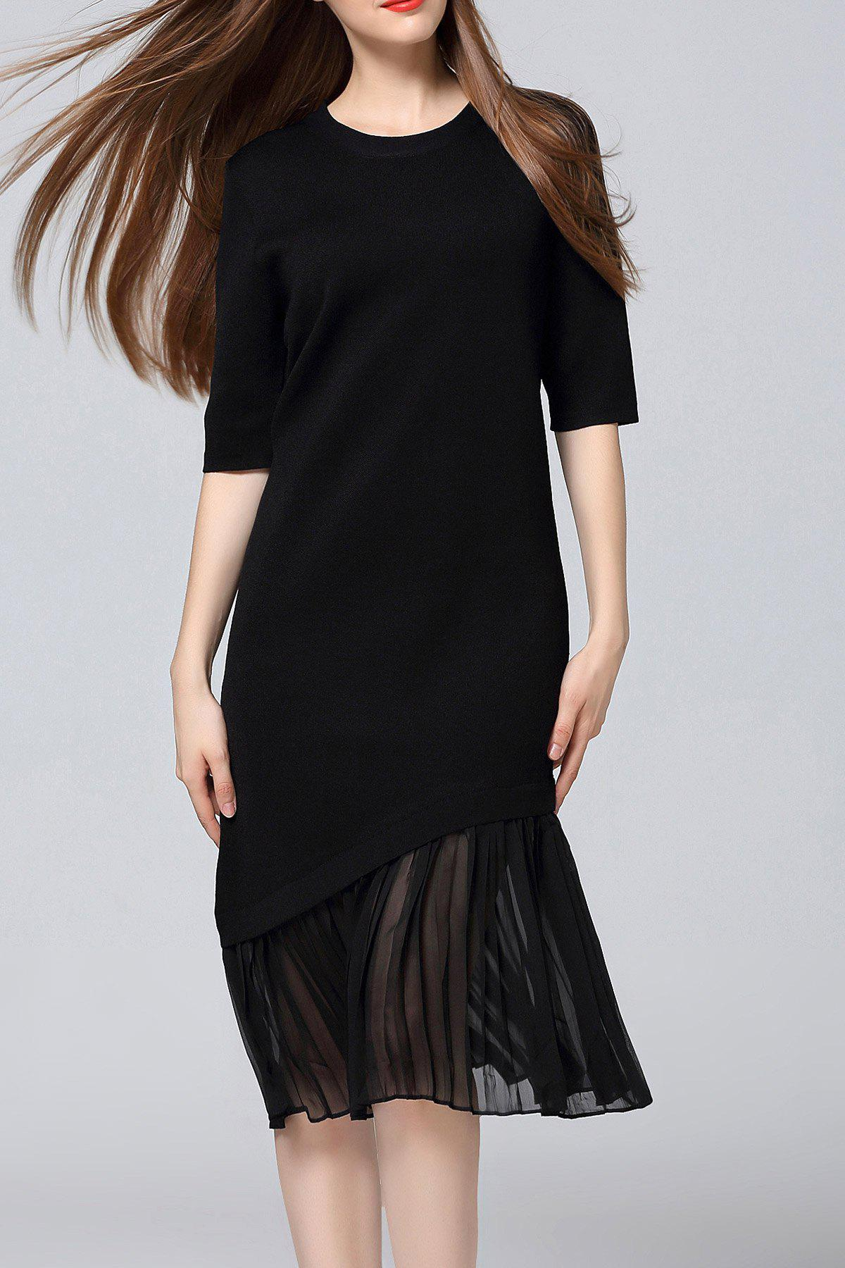 Plissé Sweater Midi Dress Noir Taille Unique(S'adap