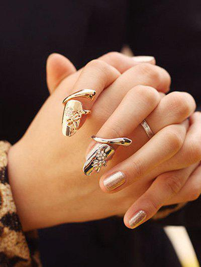 Affordable 2 Pcs Dragonfly Rhinestone Flower Nail Rings