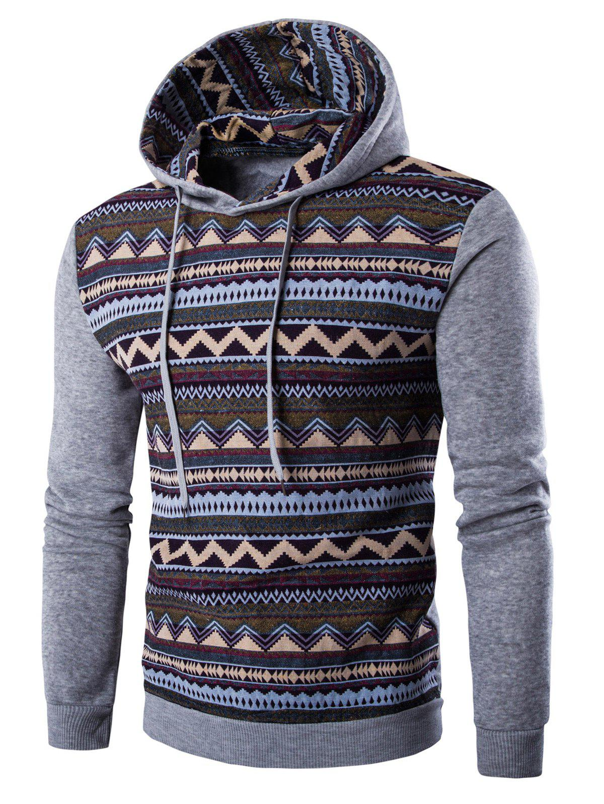 Tribal Print Hooded Long Sleeve Fleece HoodieMEN<br><br>Size: M; Color: LIGHT GRAY; Material: Cotton,Polyester; Shirt Length: Regular; Sleeve Length: Full; Style: Fashion; Weight: 0.401kg; Package Contents: 1 x Hoodie;