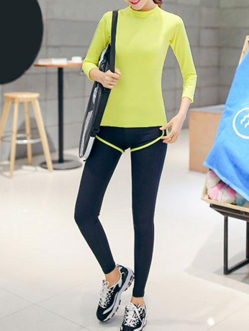 Couleur 3/4 T-shirt manches pure et Color Block Leggings Set