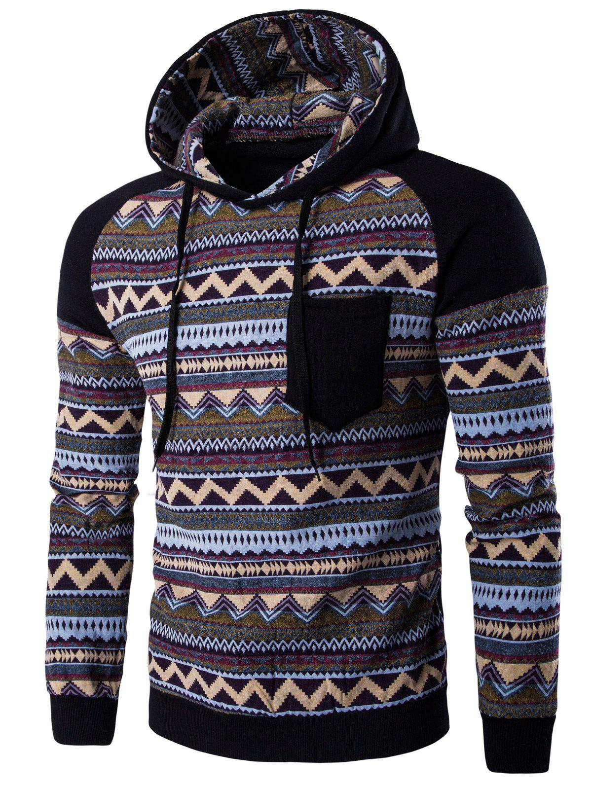 Color Block Tribal Printed Pocket Hooded Raglan Sleeve HoodieMEN<br><br>Size: 2XL; Color: BLACK; Material: Cotton,Polyester; Shirt Length: Regular; Sleeve Length: Full; Style: Fashion; Weight: 0.4070kg; Package Contents: 1 x Hoodie;