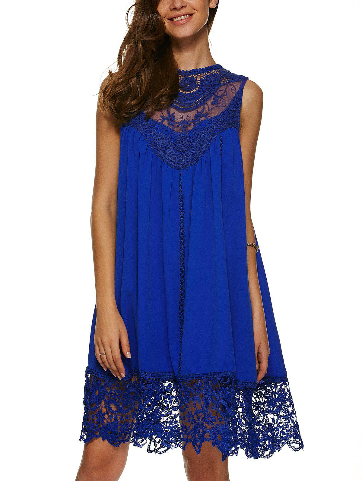 Chic Lace Panel A Line Casual Swing Dress