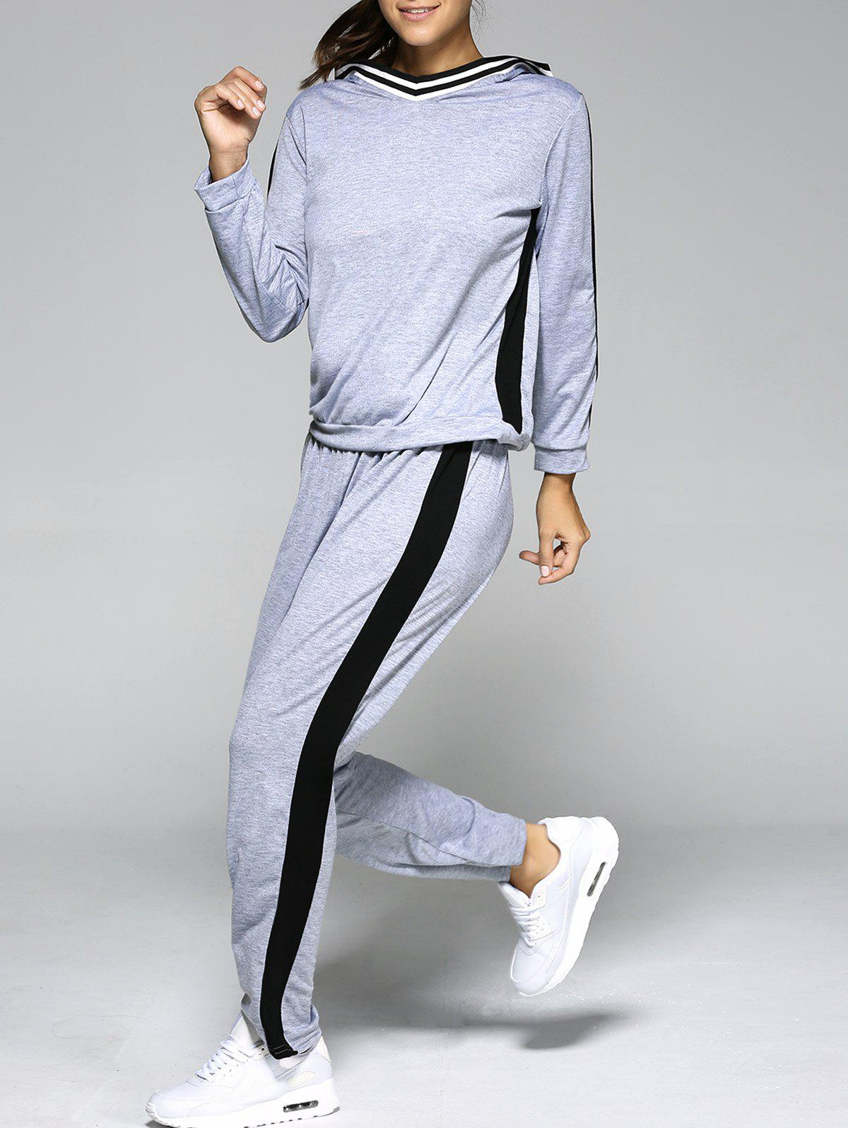 Buy Hooded Color Block Top with Running Jogger
