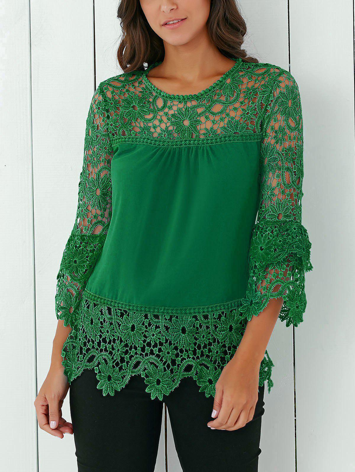 Green Lace Insert Crochet Lace Blouse | RoseGal.com