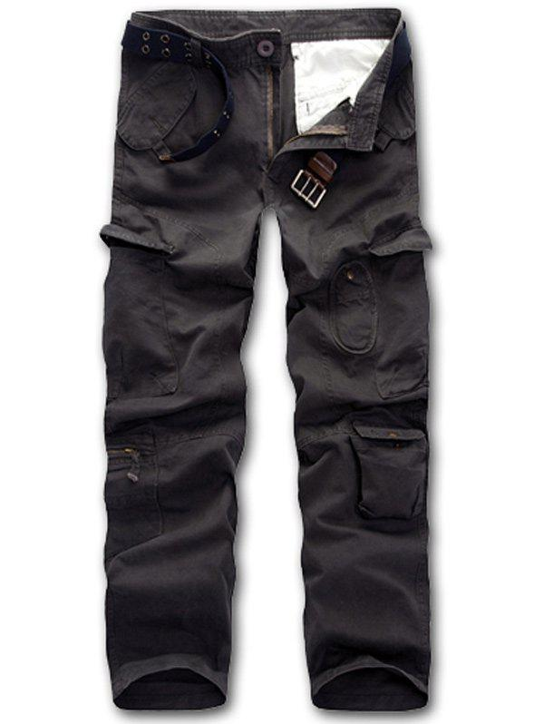 Online Casual Zipper Fly Straight Leg Multi-Pockets Embellished Pants