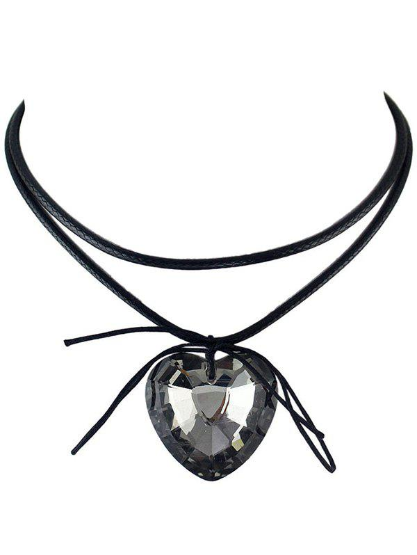 Outfits Faux Crystal Heart Bowknot Layered Choker