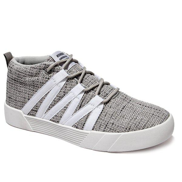 Fancy Lace-Up Linen Mid Top Casual Shoes