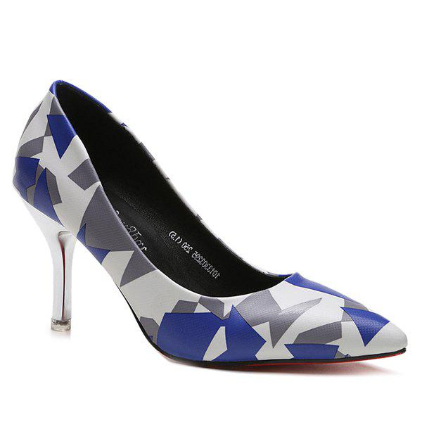 Chic Geometric Print Stiletto Heel Pumps