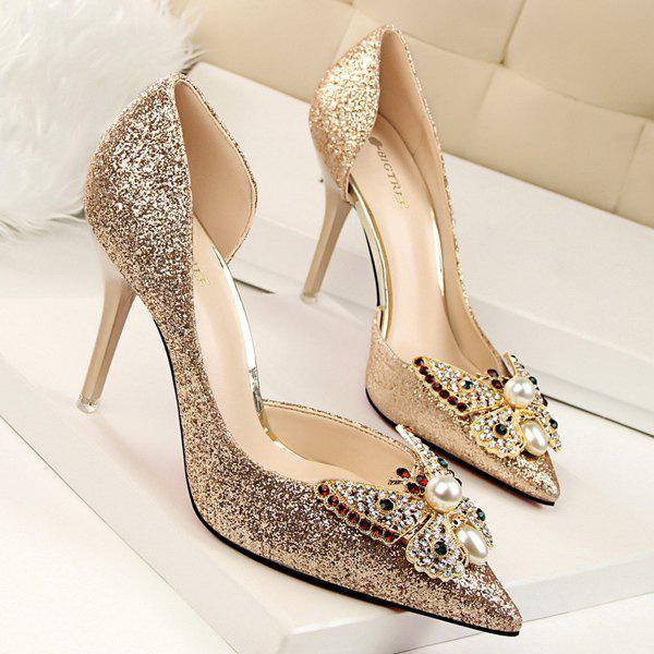 Sale Sequined Faux Pearl Butterfly Pumps