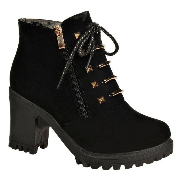 Latest Chunky Heel Side Zip Rivet Short Boots