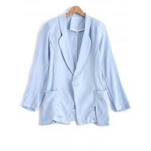 Turn Down Collar Pocket Linen One Button Blazer - Light Blue - M