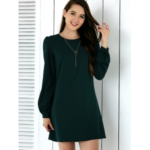 Brief Lantern Sleeve Pure Color Dress
