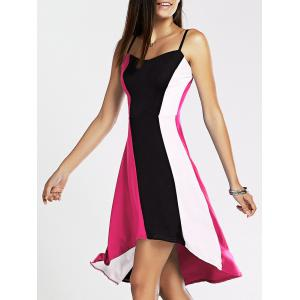 Spaghetti Strap Color Blocks High-Low Summer Dress - White + Black + Pink - Xl