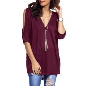 Cold Shoulder Asymmetrical Low Cut V Neck Tee - Purplish Red - L