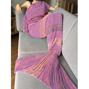 Crochet Stripe Pattern Mermaid Tail Shape Blanket - Pink