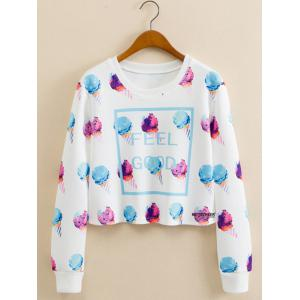 Ice Cream Print Cropped Long Sleeve Sweatshirt - White - M