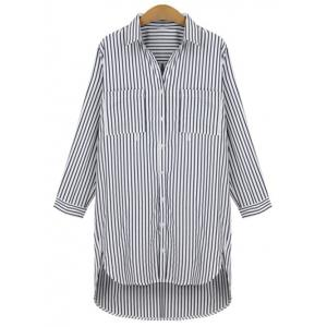 Plus Size Pinstripe High Low Boyfriend Shirt - Black - Xl