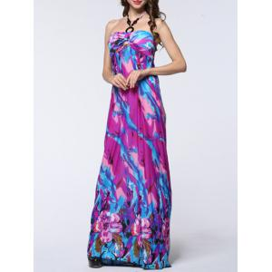 Halter Floral Print Backless Long Maxi Prom Dress - Purple - 6xl
