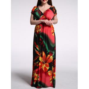 V Neck Short Sleeve Floral Maxi Dress - Red - Xl